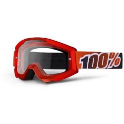 Brýle motokrosové 100% Strata Fire Red - čirá skla